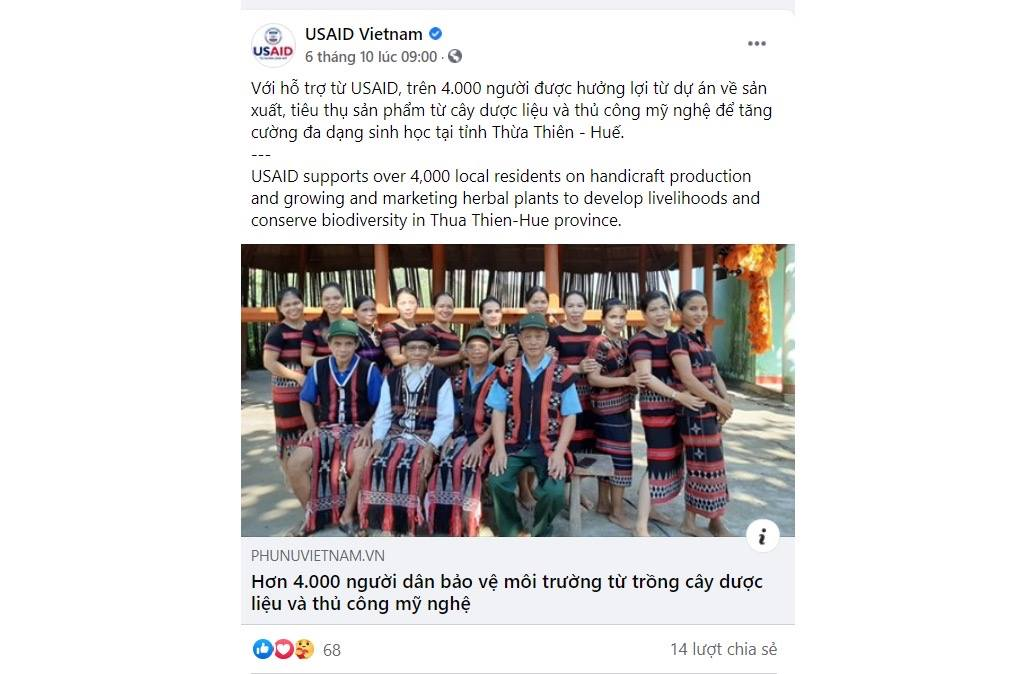 The outcomes of project at Thua Thien Hue province posted on Fanpage of USAID
